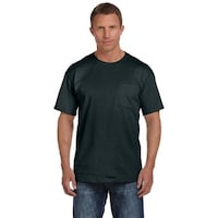 6645bfc0 Fruit of the Loom Men's Black Heavy Cotton HD Pocket Undershirts (Pack of  ...