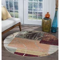 Alise Rugs Decora Contemporary Abstract Round Area Rug - multi - 5'3 x 5'3