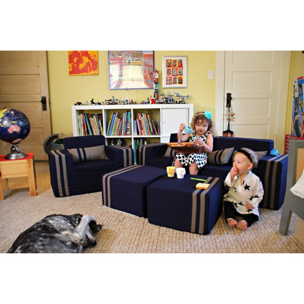 Softblock Kidsu0026#x27; Navy Indoor/Outdoor Foam Sofa