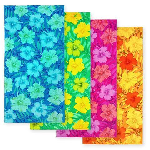 "KAUFMAN Hibiscus Beach Print Towel 30"" x 60"". Pack of 4"