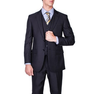 Men's Black Tonal Striped 2-button Vested Modern Fit Suit
