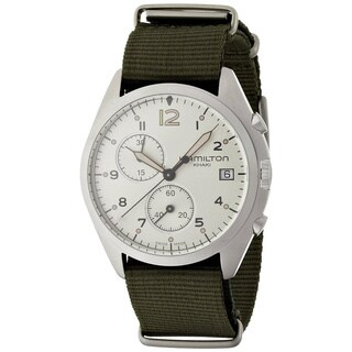 Hamilton Khaki Aviation Pilot Pioneer Chrono Quartz Green Fabric Strap Men's Watch