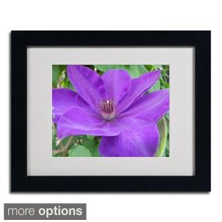 Monica Fleet 'Purple Flower' Framed Matted Art