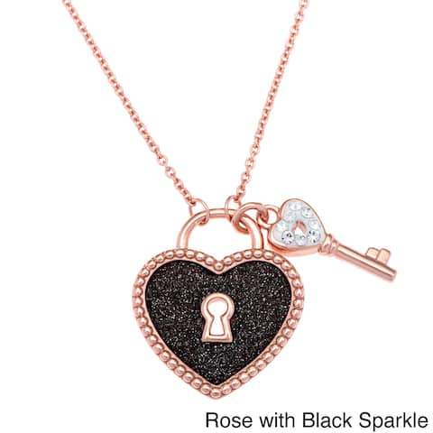 La Preciosa Sterling Silver Sparkle and Crystal Heart Lock with Key Necklace