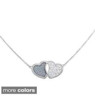 La Preciosa Sterling Silver Sparkle and Crystal Double Heart Necklace