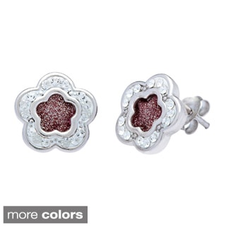 La Preciosa Sterling Silver Sparkle and Crystal Flower Stud Earrings