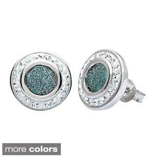 La Preciosa Sterling Silver Sparkle and Crystal Stud Earrings