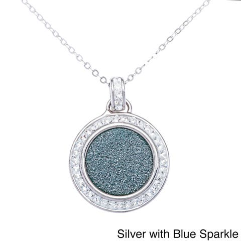 La Preciosa Sterling Silver Sparkle and Crystal Circle Pendant Necklace