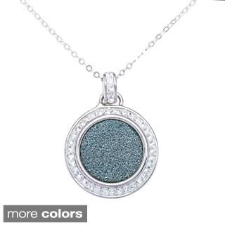 La Preciosa Sterling Silver Sparkle and Crystal Circle Pendant Necklace