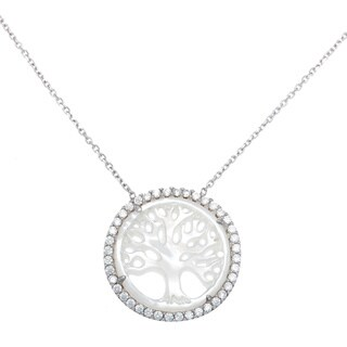 La Preciosa Sterling Silver Mother of Pearl and Cubic Zirconia Tree of Life Necklace