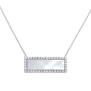 La Preciosa Sterling Silver Mother of Pearl and Cubic Zirconia Rectangle Necklace