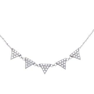 La Preciosa Sterling Silver Cubic Zirconia Triangles Necklace