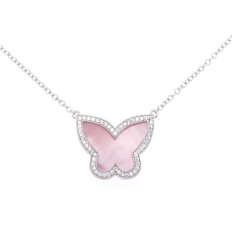 La Preciosa Sterling Silver Pink Mother of Pearl and Cubic Zirconia Butterfly Necklace