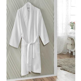 Classic White Turkish Cotton Hotel and Spa Luxury Shawl Collar Belted Towel Bath Robe with Pockets