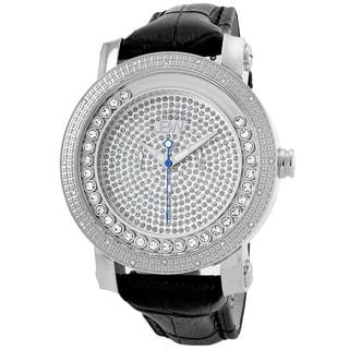 JBW Men's 'Hendrix' Stainless Steel Multi-function Leather Diamond Watch