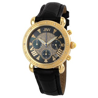 JBW Women's Yellow Goldplated Stainless Steel 1/6ct TDW Diamond Leather Watch