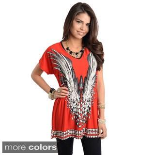 Stanzino Women's Silk Blend Short Sleeve Smocked Blouse