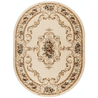 Alise Lagoon Beige Oval Traditional Area Rug (5'3 x 7'3 Oval)