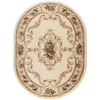 Alise Lagoon Beige Oval Traditional Area Rug (5'3 x 7'3 Oval)|https://ak1.ostkcdn.com/images/products/9064214/P16258054.jpg?impolicy=medium