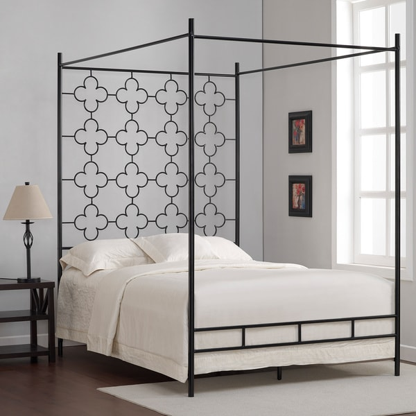 quatrefoil full canopy bed
