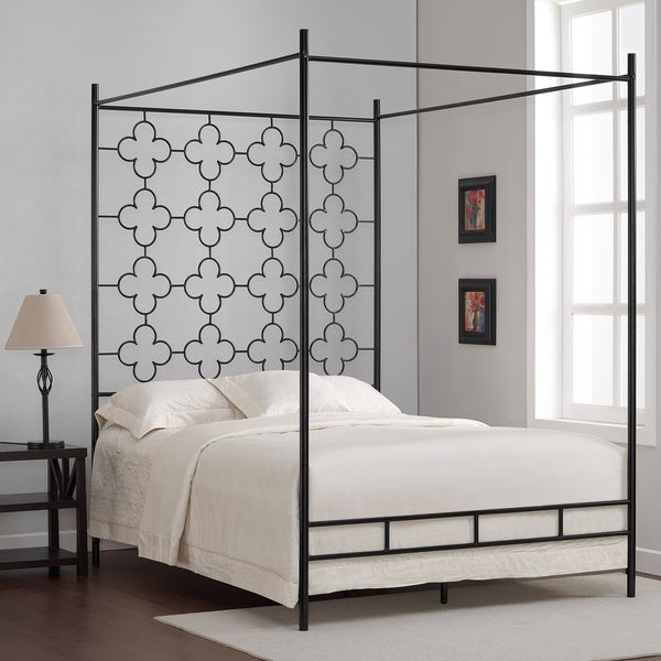 quatrefoil full canopy bed