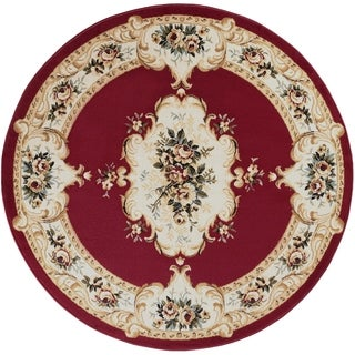 Alise Lagoon Red Traditional Area Rug (7'10 Round)