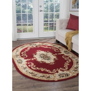 Alise Lagoon Red Oval Traditional Area Rug (5'3 x 7'3 Oval)