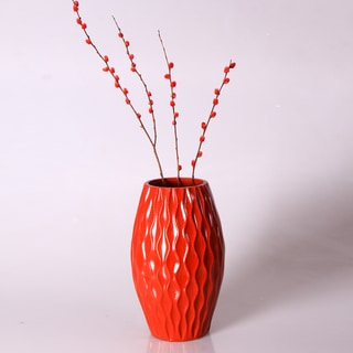 Contemporary 12-inch Red Wood Vase