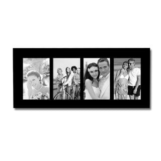 Adeco Decorative Black Wood Divided Wall Hanging Photo Frame with 4 Divided 4x6-inch Openings