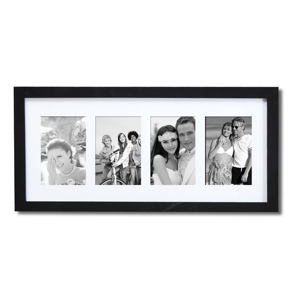 Adeco Decorative Black Wood White Mat Wall Hanging Photo