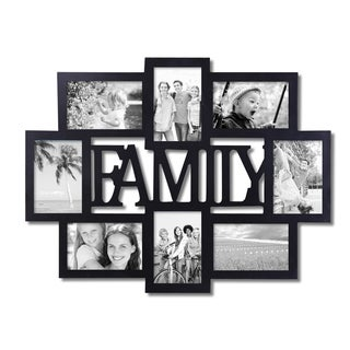 Adeco 8-photo Black Wood 'Family' Picture Frame