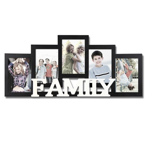 Adeco Decorative Black and White Wood 'Family' Wall Hanging 4 x 6-inch Photo Frame with 5 Openings