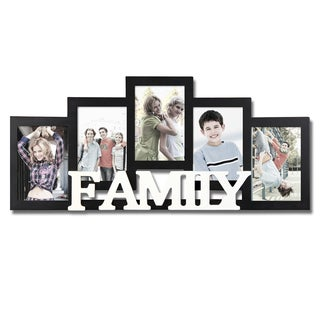 Adeco 5-photo Black Wood 'Family' Collage Picture Frame