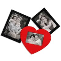 Adeco Decorative Black/ Red Wood Wall Hanging Collage Photo Frame with 3 Openings