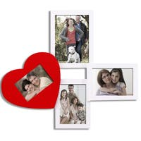 Adeco Decorative White/ Red Wood Wall Hanging Collage Photo Frame with 4 Openings