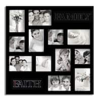 Adeco Decorative Black Wood 'Faith and Family' Wall Hanging Collage Photo Frame with 12 Openings