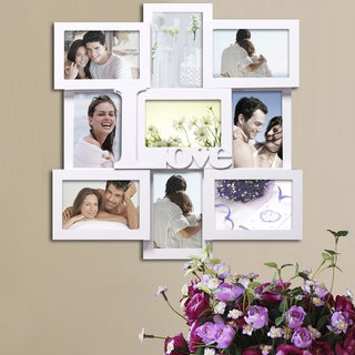 Adeco Decorative White Wood 'Love' Wall Hanging Collage 4x6 Photo Frame with 9 Openings
