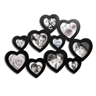 Adeco Decorative Black Wood Hearts Wall Hanging Collage Photo Frame with 10 Openings
