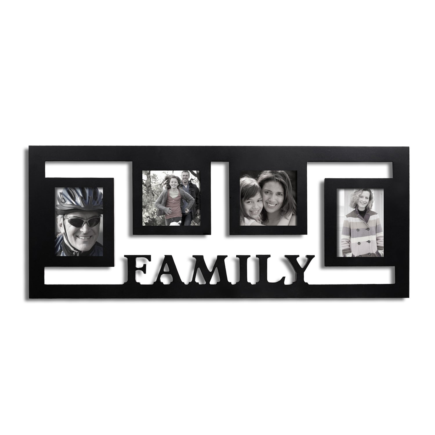 Adeco Decorative Black Wood Wall Hanging Family Floating Collage 3 5x5 4x4 Photo Frame With 4 Openings Overstock 9064262