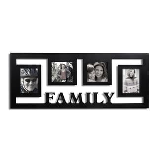 Adeco Decorative Black Wood Wall Hanging 'Family' Floating Collage 3.5x5 / 4x4 Photo Frame with 4 Openings