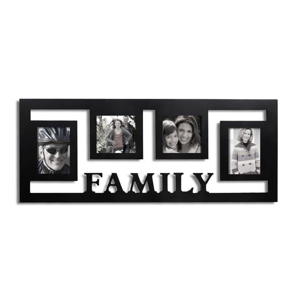 Shop Adeco Decorative Black Wood Wall Hanging \'Family\' Floating ...
