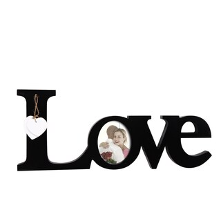 Adeco Decorative Black Wood 'Love' Wall Hanging with Oval 4x5 Photo Frame