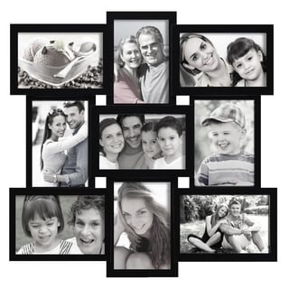 Adeco Decorative Black Wood Wall Hanging Collage Basket-weave 4x6 Photo Frame with 9 Openings