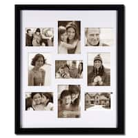 Adeco Decorative Black Wood Bulletin Board-style Wall Hanging Photo Frame with 9 Openings