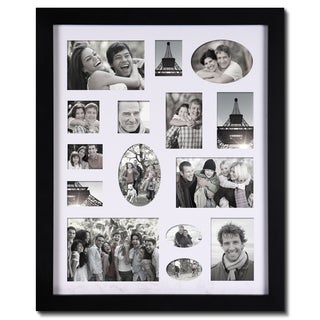 Adeco Decorative Black Wood Bulletin Board-style Wall Hanging Photo Frame with 15 Openings