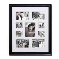 Adeco Decorative Black Wood Bulletin Board-style Wall Hanging Photo Collage Frame with 9 Openings