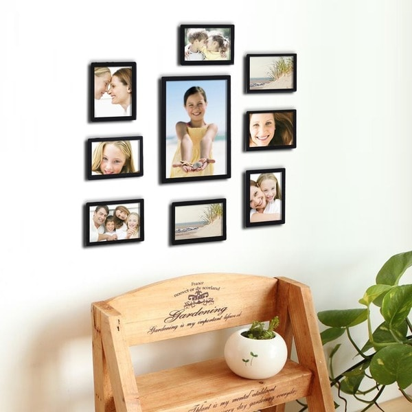 Beautiful Adeco Decorative Black Wood 10 Piece Photo Frame Set For 8   4 X 6
