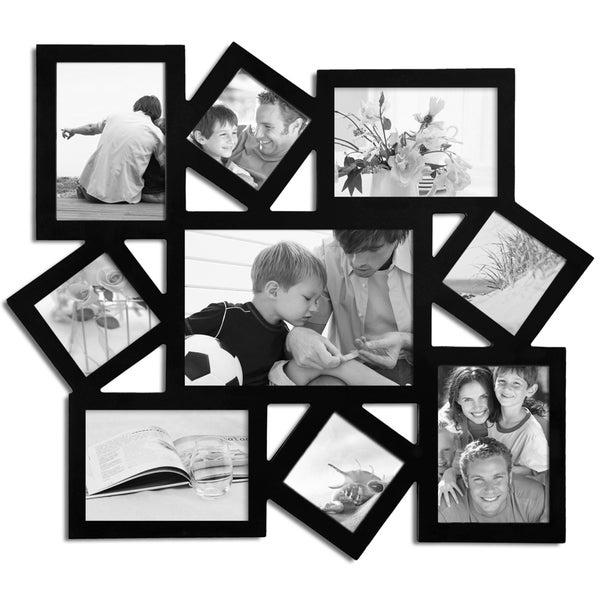 Adeco Decorative Black Wood Wall Hanging Collage Photo Frame with 9 Openings