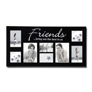 adeco decorative black wood friends wall hanging photo frame collage with 8 openings