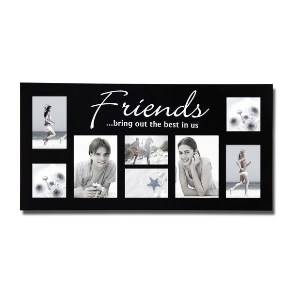 Adeco Decorative Black Wood 'Friends' Wall Hanging Photo Frame Collage with 8 Openings